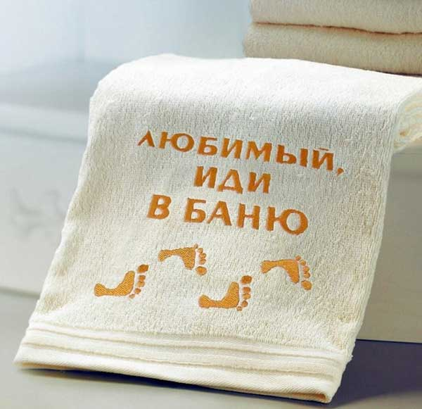 Вышивка надписей на банных шапках